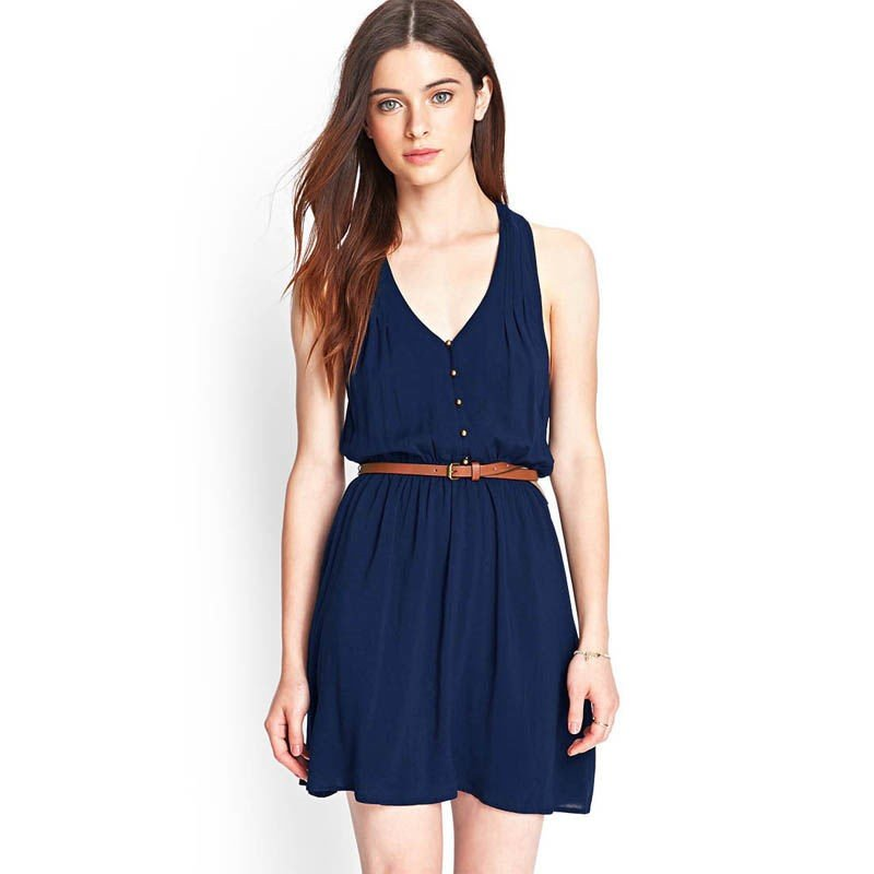 dress-women-s-blue-casual-short-with-belt