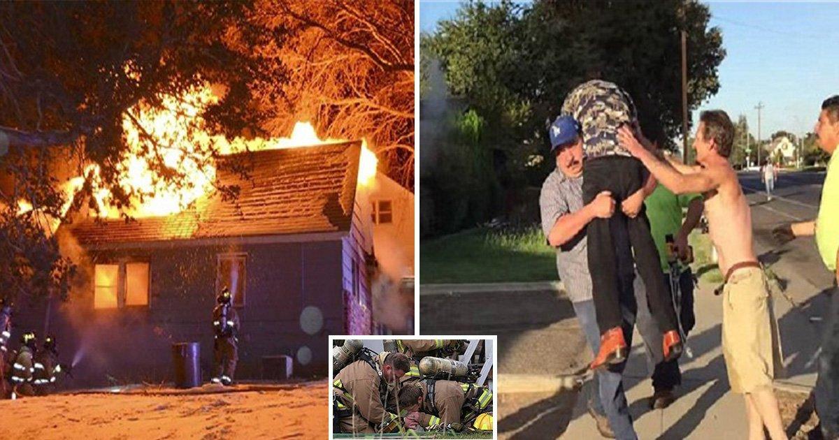 ec8db8eb84ac2 2 - Two Men Throw Bricks Through A Burning House to Save A Disabled Man
