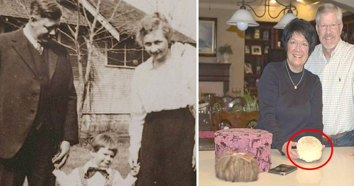 ec8db8eb84ac5 - Man Finds Grand parent's Wedding Cake Hidden Inside A Hat Box with a Note