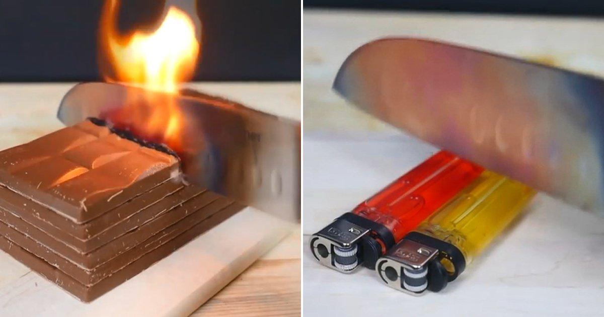 ecb9bc - Experimento: Faca aquecida a 1000 ℃ faz objetos pegarem fogo assim que os toca! (vídeo)