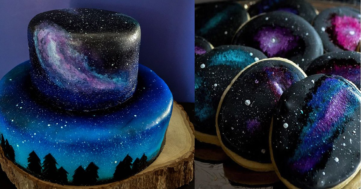 make your first galaxy theme cake using just an airbrush and