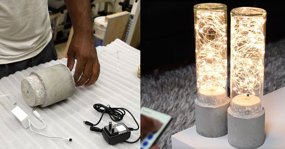 Decorate Your Room Using This Diy Concrete Lamp Led String Lights