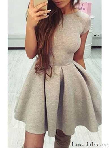 lleva-nuevo-mujer-un-vestido-de-linea-vestido-mini-patinador-mangas-de-gorro-abrir-la-parte-trasera-gris