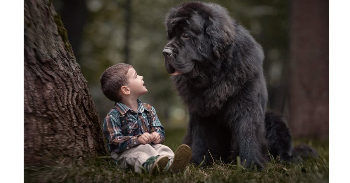 mainphoto chien enfant - [Photos] La tendre relation entre ces enfants et leurs chiens va vous faire craquer