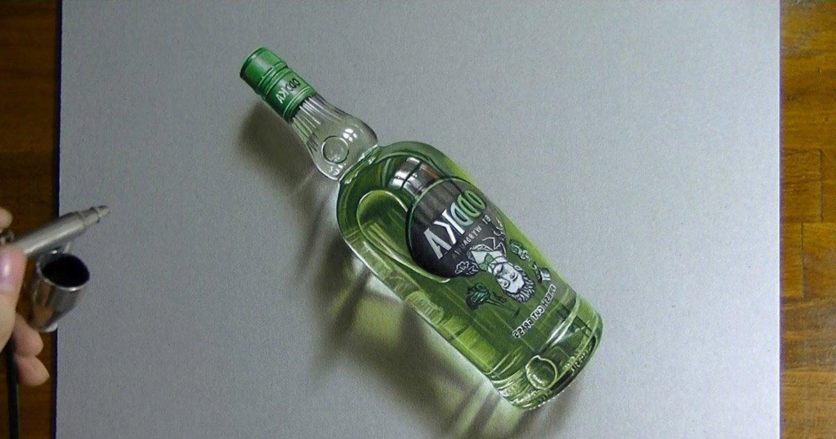 oddkadraw.jpg?resize=412,232 - Desenho super realista da famosa garrafa de Oddka é de deixar boquiaberto