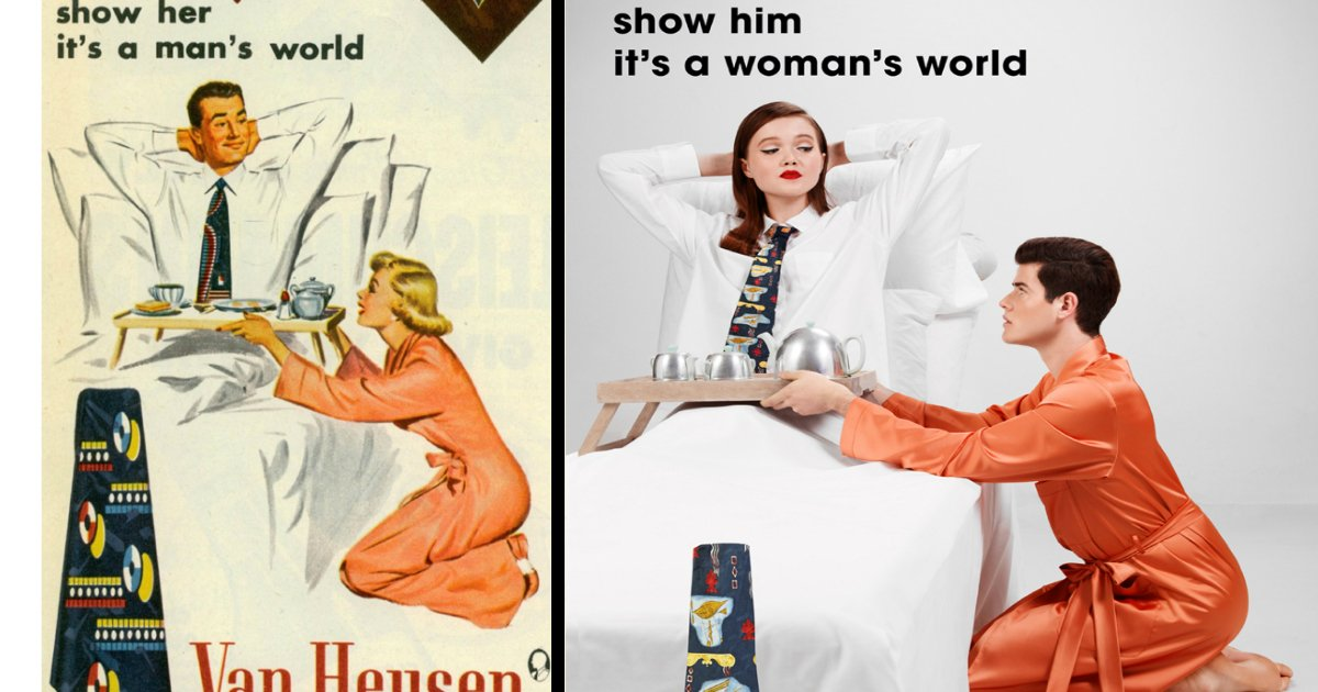 showhim - De forma divertida, fotógrafo recria antigas propagandas machistas