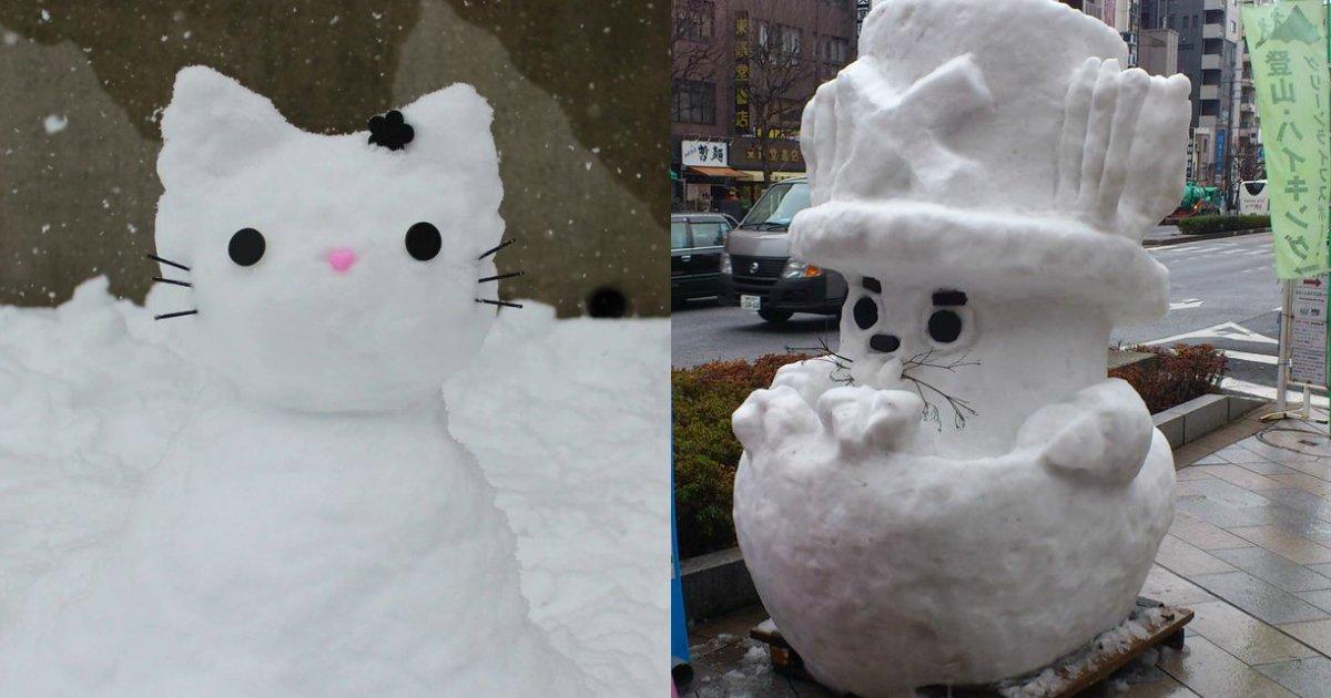 snowmen - Amazing Snow Sculptures, After Heavy Snowfall Hits Tokyo