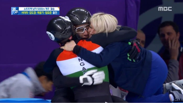 storm to girlfriend after confirmation of gold medal in short track relay g1cz54hc0aaucss7qrsb - 쇼트트랙 계주서 '금메달' 확정 후 여자친구에게 폭풍 키스한 '헝가리 윙크남' (영상)