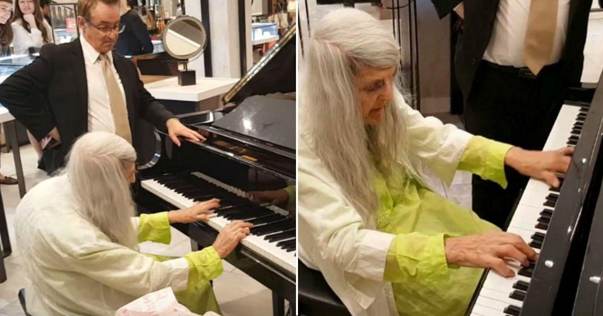 untitled 13 - Uma senhora idosa entra em uma loja, começa a tocar piano e toca as pessoas no local