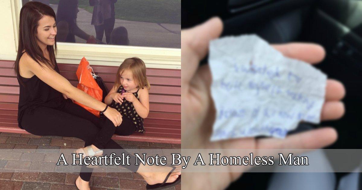 1 371.jpg?resize=1200,630 - Un sans-abri glisse une note déchirante dans la main de la femme qui lui a offert de la nourriture