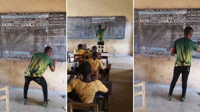 100224968 ghanateachercomp.jpg?resize=1200,630 - Inspirador! Professor africano desenha Word no quadro negro para ensinar crianças