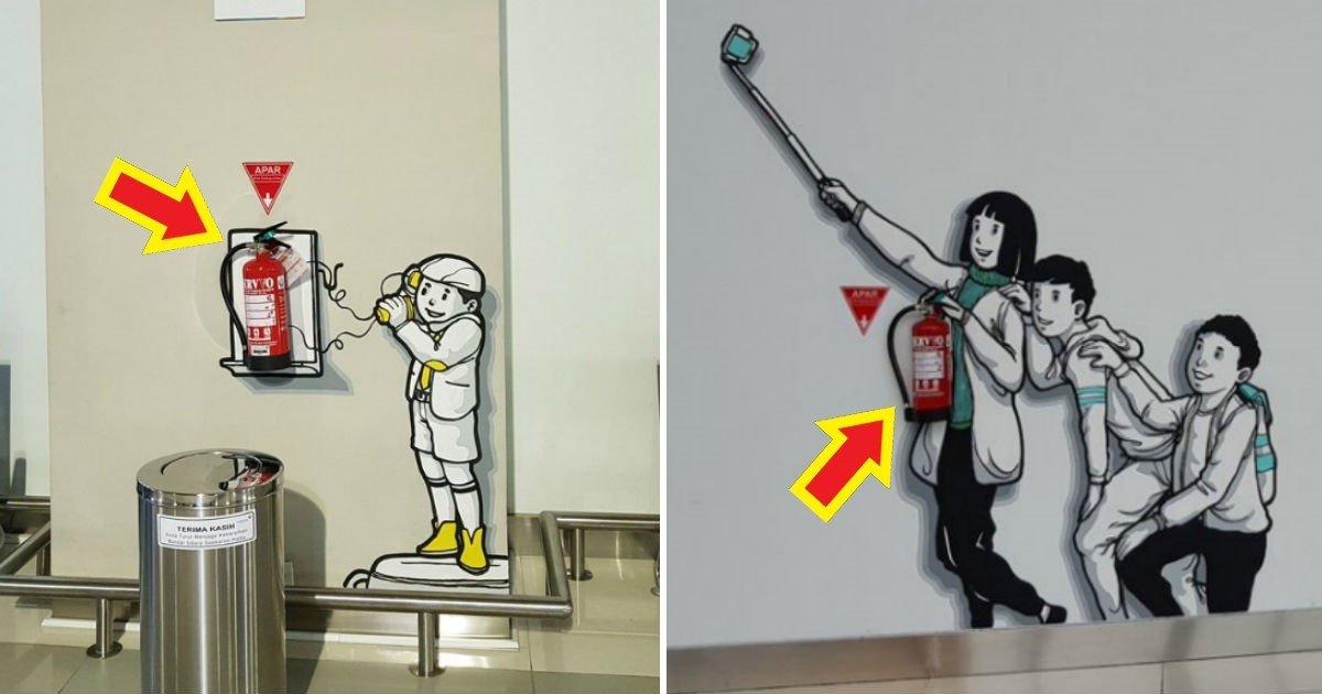 134 1 - '소화기 위치를 벽화로' 나타낸 자카르타 공항의 톡톡 튀는 아이디어(사진 6장)
