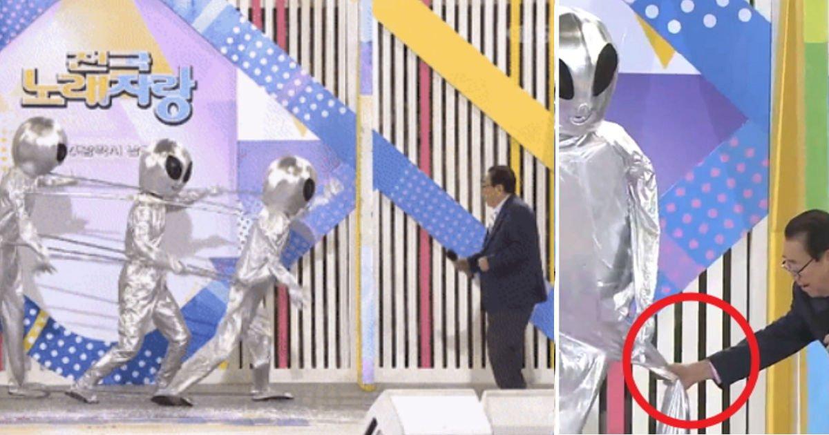 23143214 - 올해 92세 송해 선생님도 덩실덩실 어깨춤 추게 한 '외계인 참가자'(영상)