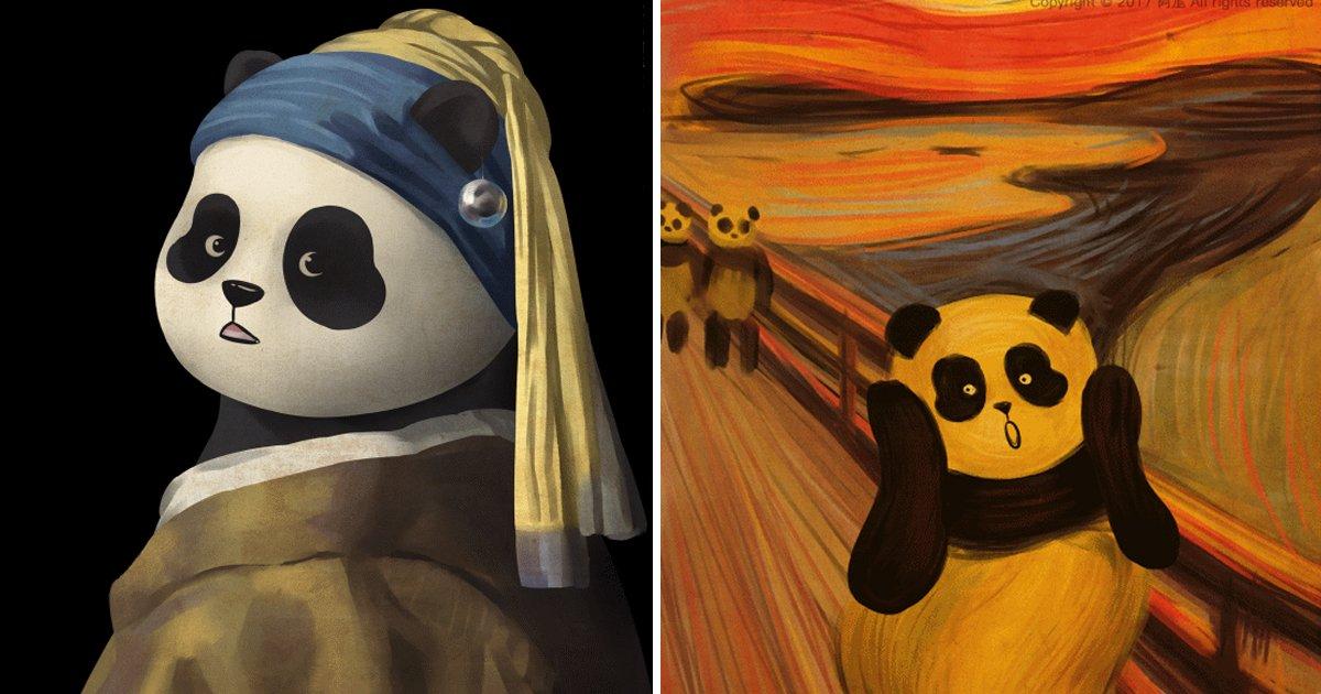 3 198 - 대륙을 사로잡은 '귀여운 팬더'의 명화 패러디 모음(+20)
