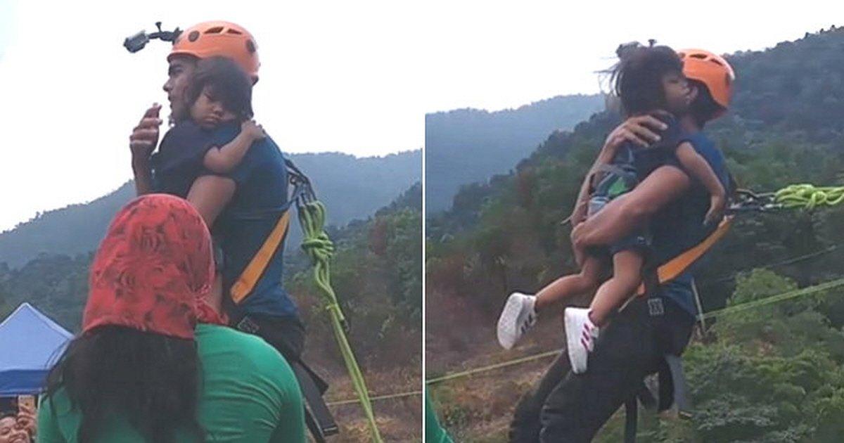 343847a96ipehjp8i4h9.jpg?resize=1200,630 - Pai é criticado por saltar de bungee jump com filha de 2 anos sem qualquer equipamento de segurança