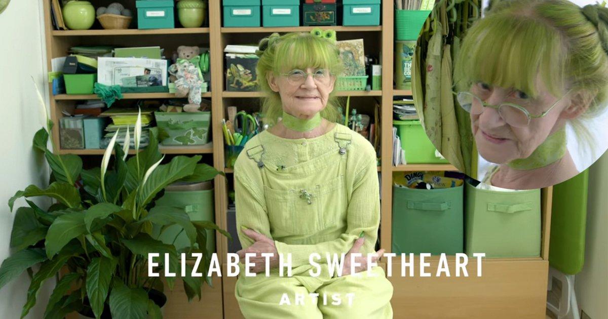 5ec8db8eb84ac.jpg?resize=648,365 - [Vidéo] Cette dame et sa passion pour la couleur verte va égayer votre journée!