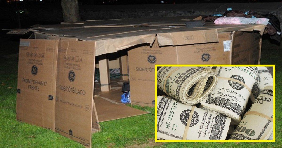 98dhfls.jpg?resize=1200,630 - Un homme sans abri vit dans des boîtes en carton pendant 3 ans jusqu'à ce qu'un policier trouve un compte bancaire oublié