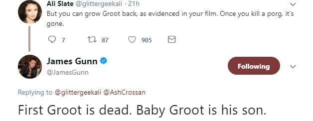 274a5144 4a69 4e76 9c77 bafda369c111 - James Gunn Shocked Fans When He Revealed That Groot Is Dead And That Baby Groot Is His Son