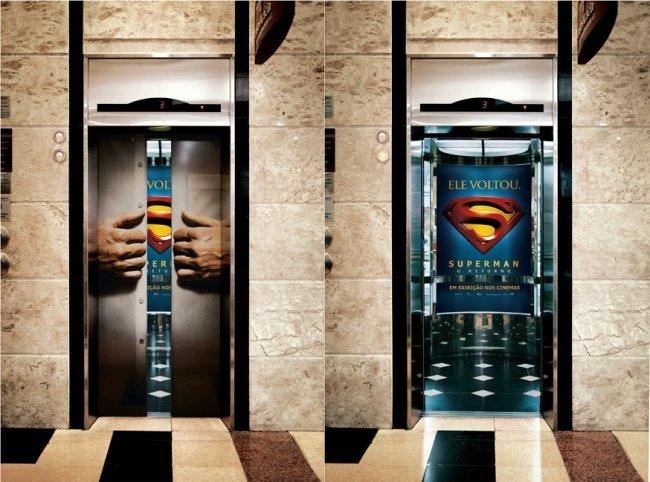 3957010 SupermanTheMovieElevator 1 1518432767 650 f786084ee8 1519920638 - 15 increíbles y creativos anuncios publicitarios colocados en ascensores que te sorprenderán