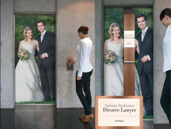 3957060 sabina stobrawe divorce lawyer the divorce lift direct marketing 69422 adeevee 1518615959 650 3f85117419 1519920638 - 15 increíbles y creativos anuncios publicitarios colocados en ascensores que te sorprenderán