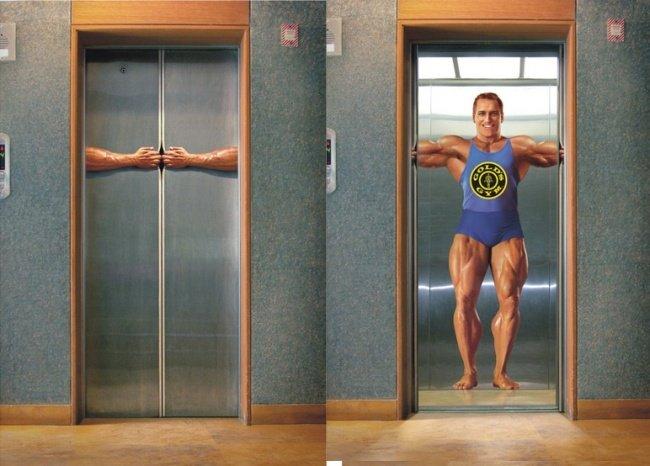 3957110 GoldsGymElevator 1 1518432642 650 1755b86566 1519920638 - 15 increíbles y creativos anuncios publicitarios colocados en ascensores que te sorprenderán