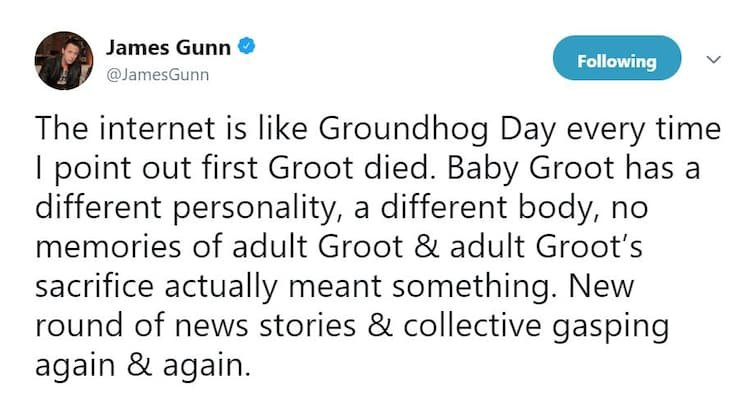 81e274b8 39e3 4396 b521 d3eb86f0060d - James Gunn Shocked Fans When He Revealed That Groot Is Dead And That Baby Groot Is His Son