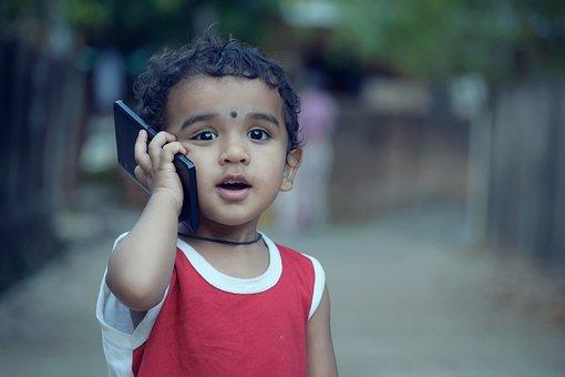 소년, 아이, 어린이, 전화 번호, 호출, 모바일, 스마트폰, 재미