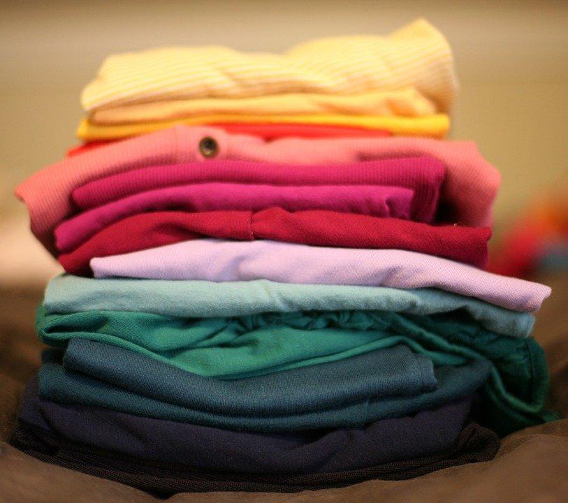 접혀, 세탁, 스택, T 셔츠, 레드, 옷, 의류