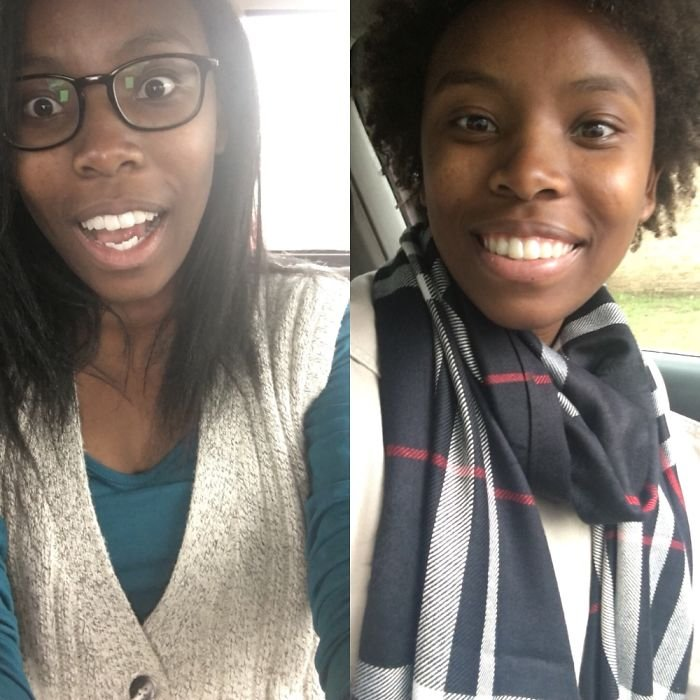 Last Year, I Cut Off My Chemically Straightened Hair And Now I'm Growing My Hair Naturally.