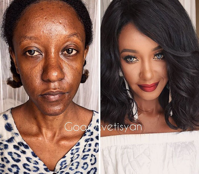 women make up transformation goar avetisyan 4 5a97b622abf22  700 - These 30 Examples Show How Skillful Makeup Worked Some Amazing Magic On These Women