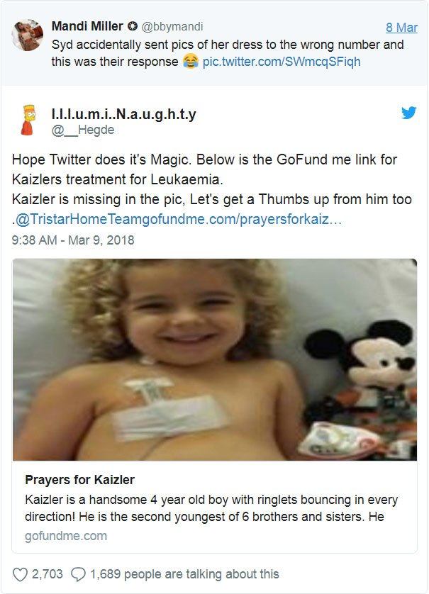 wrong number text dress advice syd mandi miller kaizler leukemia cancer 5aa3dc6031bb5  605 - A Text Message Sent To The Wrong Number Changes The Life Of A Child Having With Leukemia
