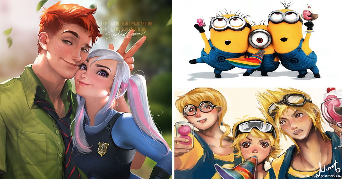 "article thumbnail 13.jpg?resize=1200,630 - ""주토피아가 순정 만화로 나온다면?"" 애니메이션 캐릭터들을 '사람'으로 표현한 상상력 충만 일러스트 모음(+20)"