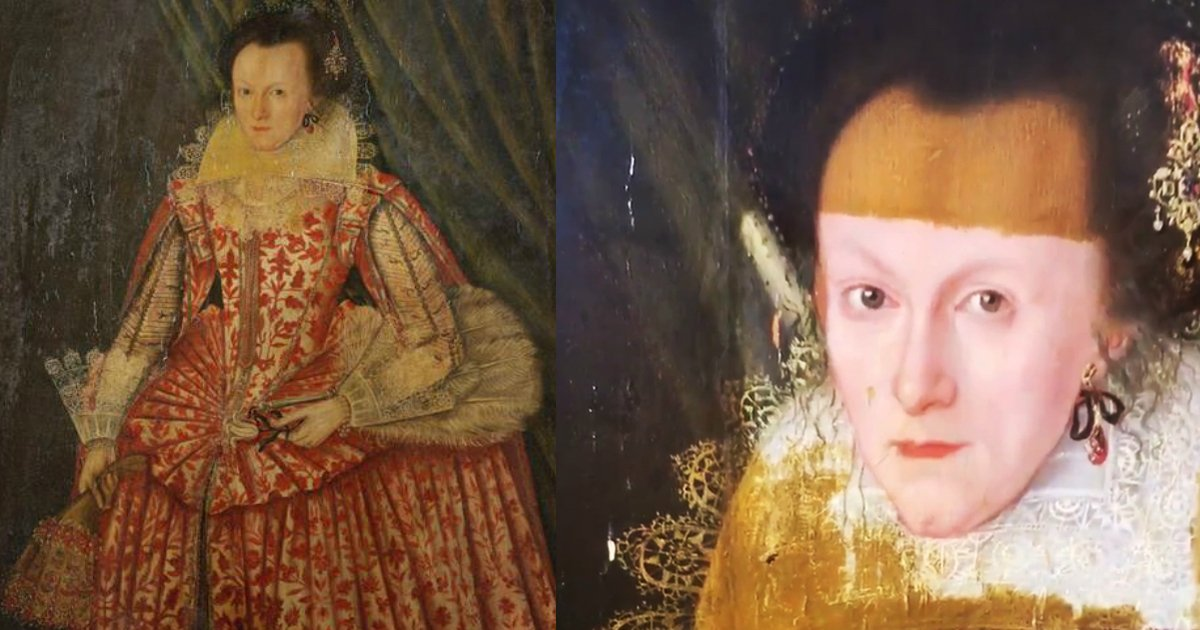 artrestoration.jpg?resize=300,169 - The Unbelievable Difference That Was Witnessed When Artist Removed 200-Year-Old Stains On A Woman's Portrait