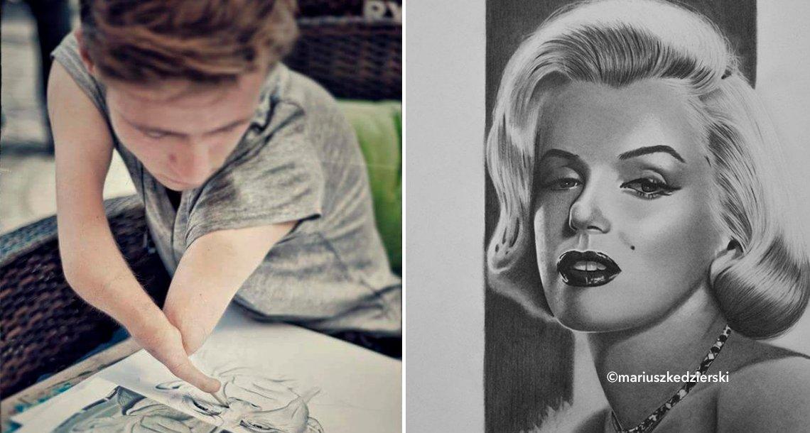cover 4pinturas.png?resize=300,169 - A pesar de nacer sin manos, este joven polaco realiza retratos hiperrealistas impresionantes