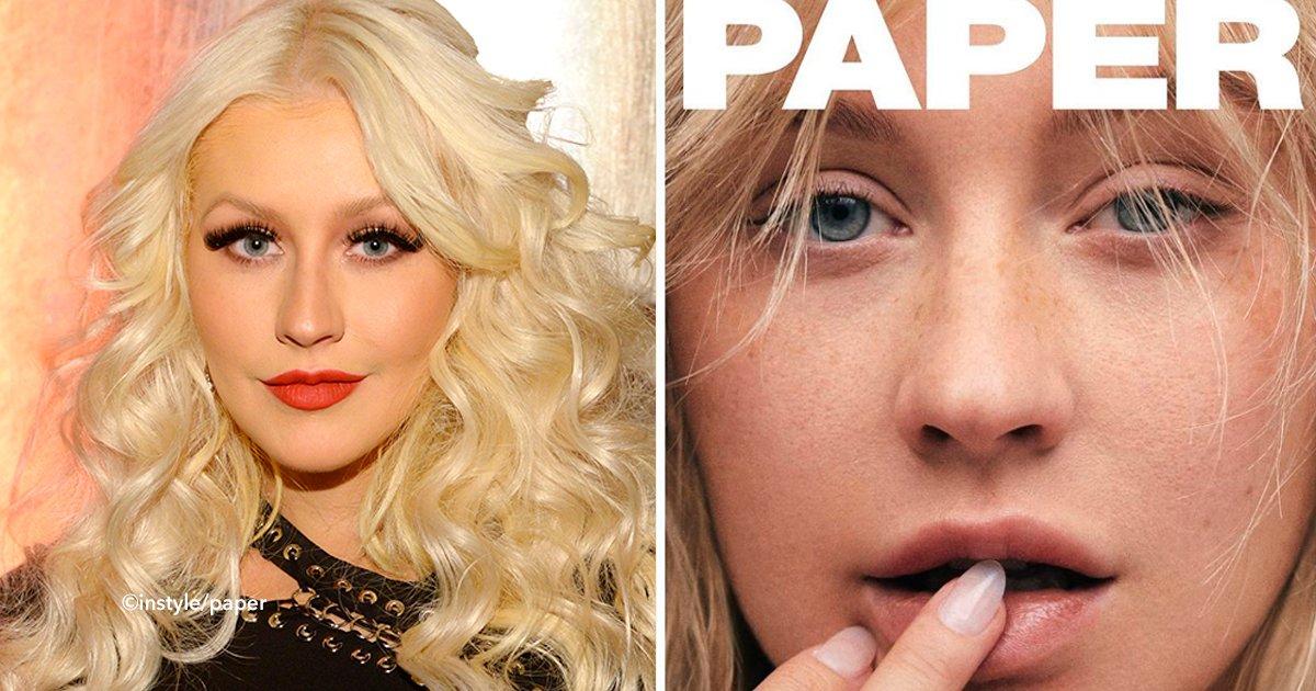 cover22chris - Pela primeira vez podemos ver Christina Aguilera sem maquiagem na capa de uma revista