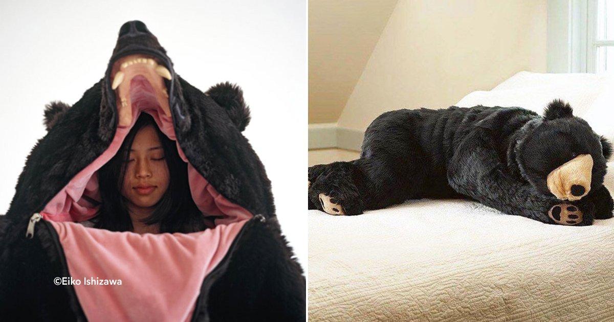 cover22oso.jpg?resize=1200,630 - Diseñadora de Japón crea una bolsa de dormir en forma de oso, para poder hibernar cómodamente