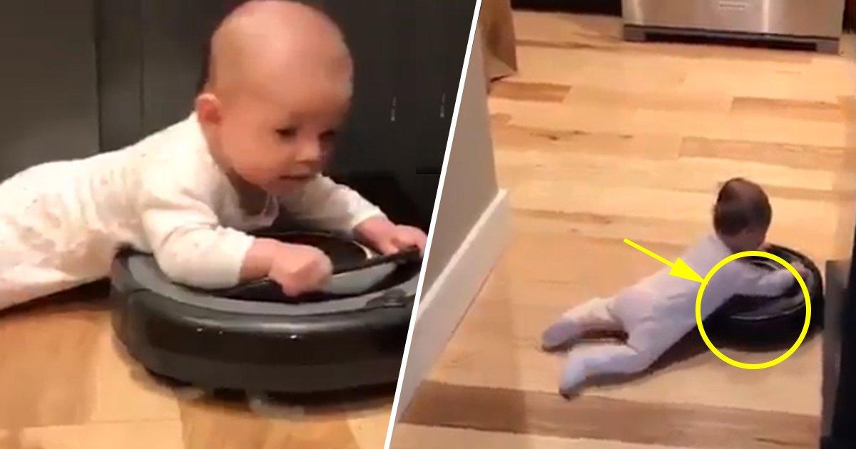 ec8db8eb84ac4.jpg?resize=1200,630 - Esse bebê dando um passeio em cima de um robô aspirador de pó é a coisa mais fofa que você verá hoje (vídeo)
