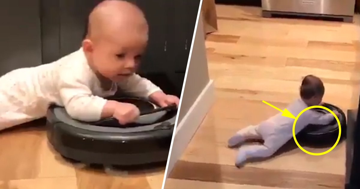 ec8db8eb84ac4.jpg?resize=300,169 - This Baby Riding A Robot Vacuum Cleaner Is The Cutest And Most Mesmerizing Thing You'll See All Day