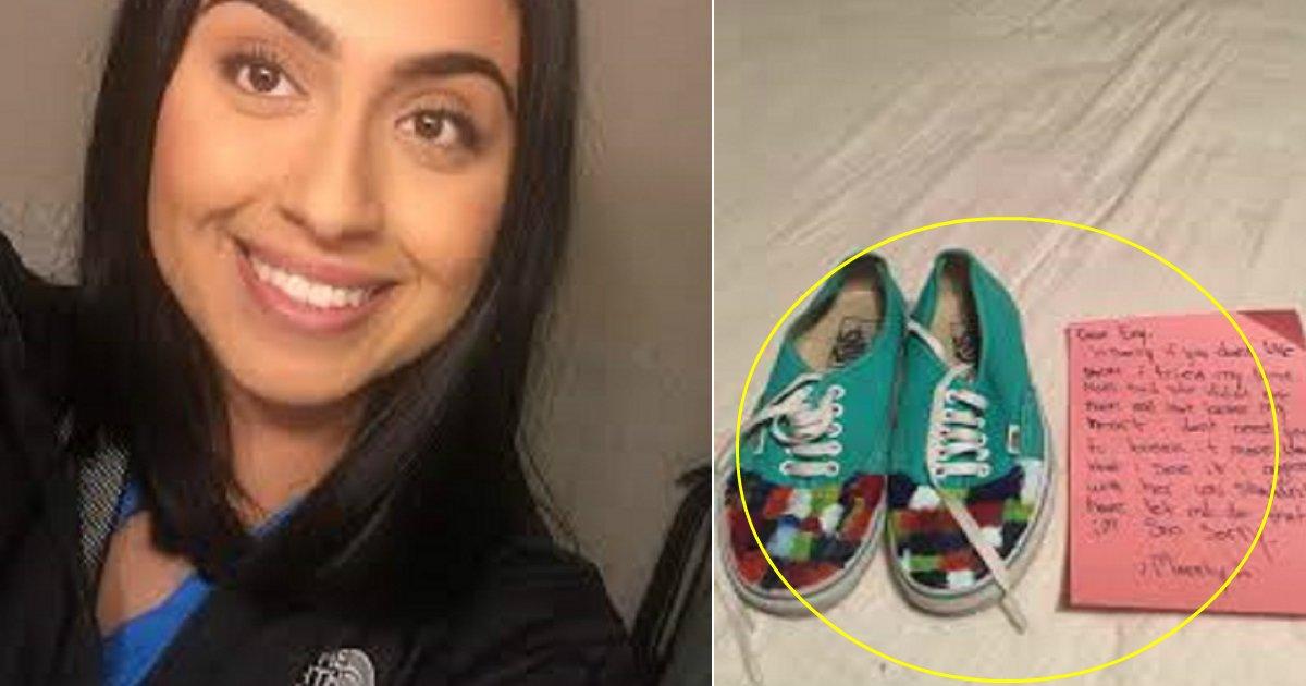 emely featured.jpg?resize=1200,630 - D'abord ravie de peindre les chaussures de sa petite-sœur, elle les laisse finalement inachevées avec une note.