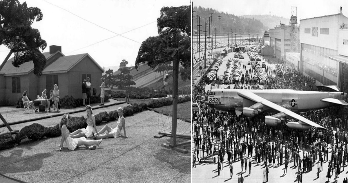 fake featured - Pictures That Reveal A fake Rooftop Town Built To Hide Boeing Factory From Japanese Air Attacks