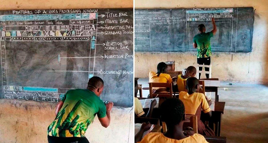ghn - Así enseña computación el profesor de una escuela pobre de Ghana