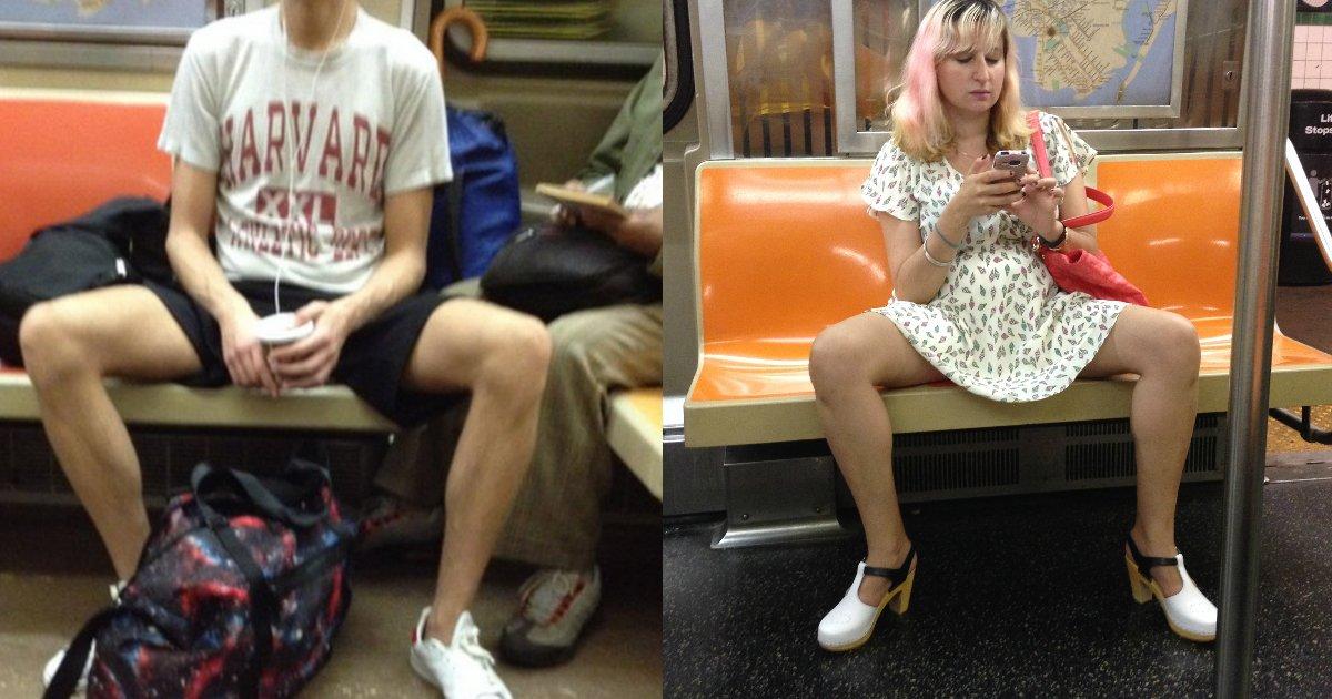 legspread - Women Tired Of Men Spreading Legs On Subway Gets Revenge, Here's How Men Responded