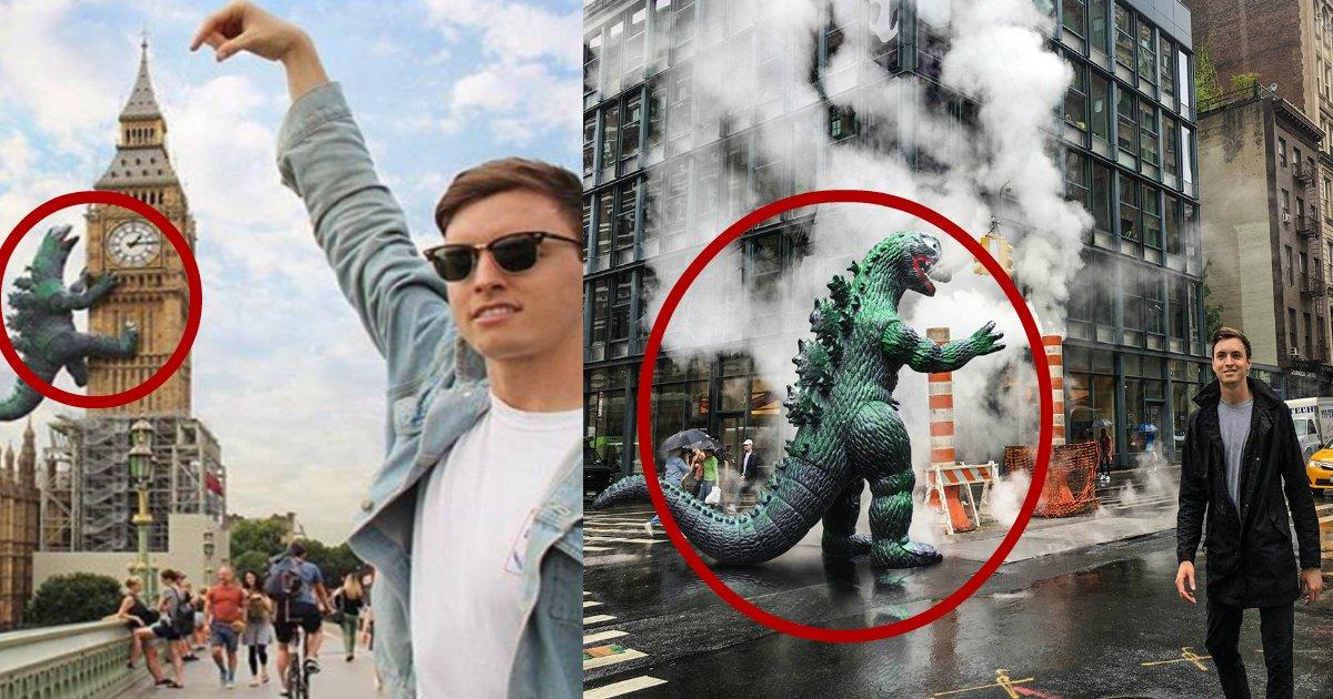 ryangodzilla - Photographer Buys 6-Inch Godzilla Figurine That Travels With Him Anywhere He Goes