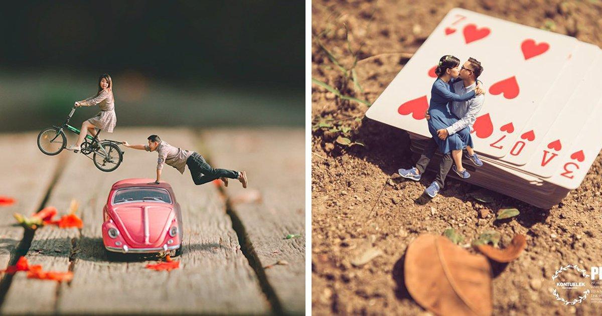 thumbnail5gdsi.png?resize=1200,630 - Um ensaio de casamento bem diferente: Fotógrafo transforma casais em miniaturas!