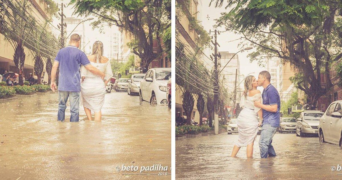 thumbnail5giu9 - Amor até debaixo d'água: Noivos fazem ensaio fotográfico de casamento em uma rua alagada