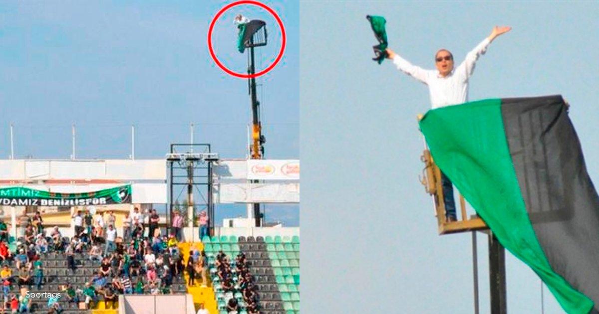1 coverr.png?resize=1200,630 - Le prohibieron la entrada al estadio por un año, por lo tanto decidió ver el partido desde una grúa
