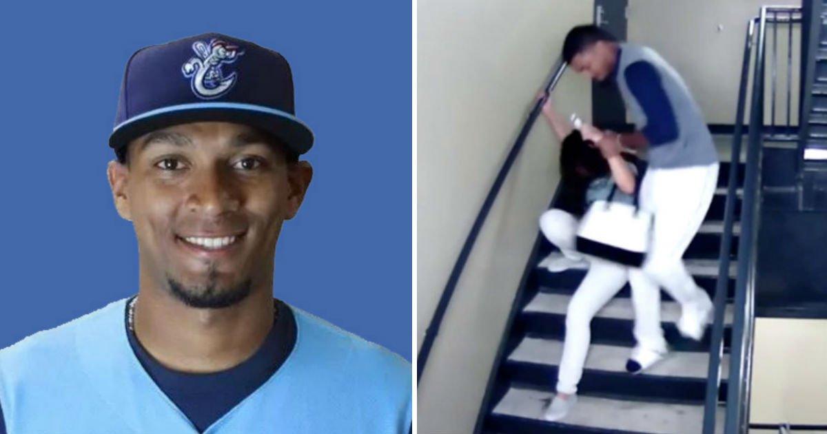 123132 - Jogador de beisebol é pego pelas câmeras de segurança agredindo sua namorada há 2 anos