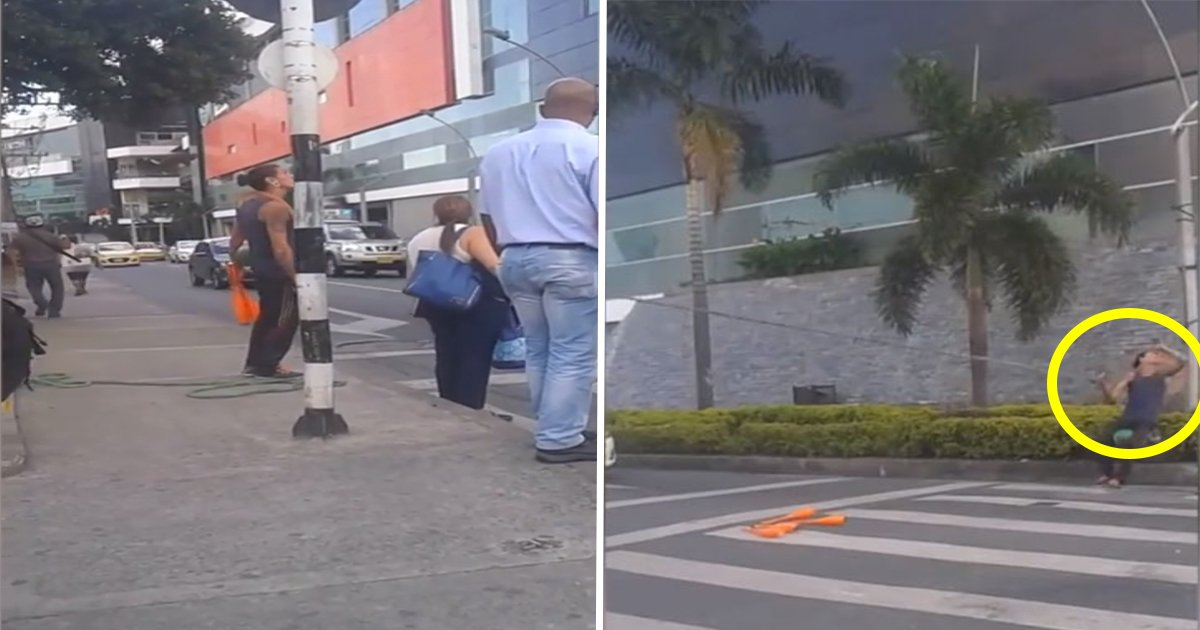 1ec8db8eb84ac 8.jpg?resize=636,358 - Man Crosses Street After Traffic Stops. But When He Ties Rope to Pole—Everyone's Amazed