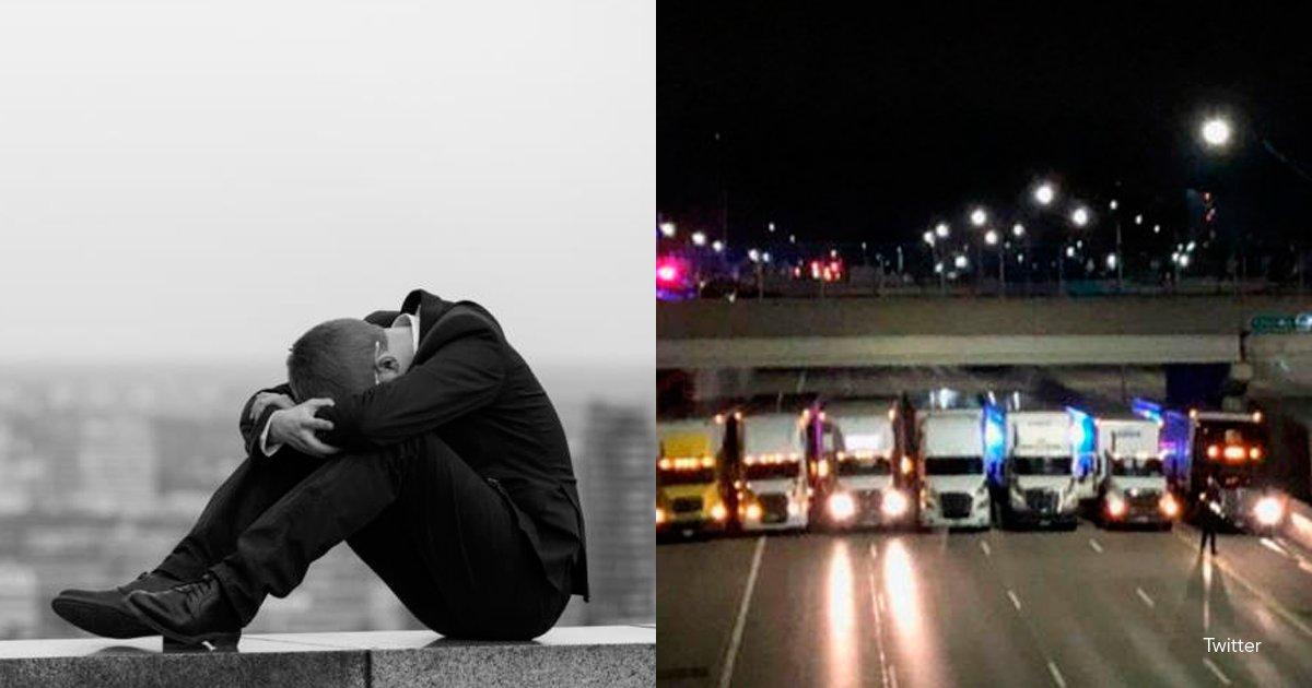 4 suici - Trece camiones bloquearon una autopista para que un hombre no se suicide