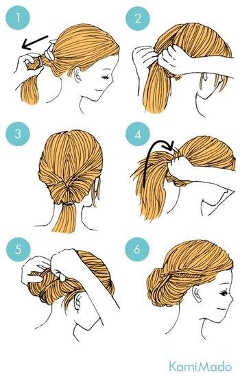 絵と文字で説明するとこんな感じです。 ①髪をゆるめに1つに結んで、くるりんぱ用の穴を開けます。 ②穴に髪を通して「くるりんぱ」。 ③少しだけ結び目をキュッと締めたら、残りの毛先を穴の中に上から仕舞い込みます。 ④ヘアピンやスプレーでキープして完成!